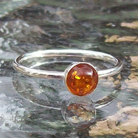 Amber Stacking Ring size R Half,  Sterling Silver