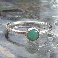 Silver Stacking Ring Aventurine Green Size R sterling Silver Handmade