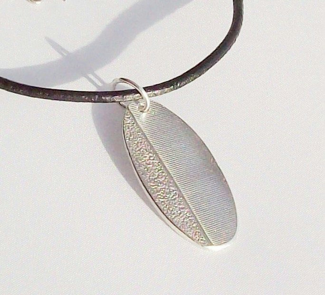 Gents Necklace Tag style Sterling Silver & Leather Personalized