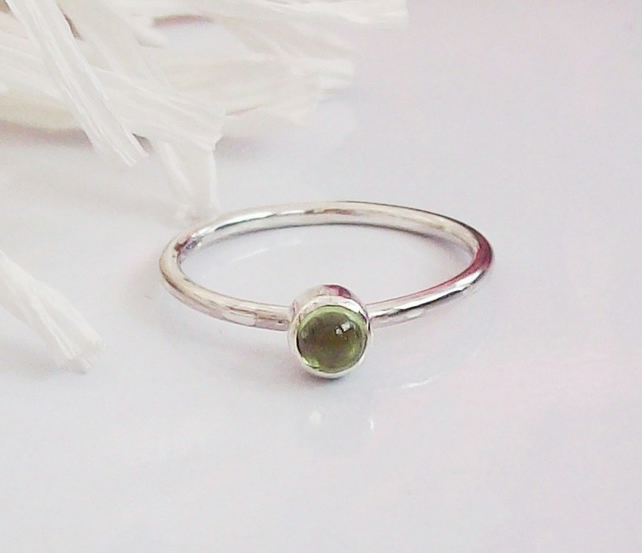 Peridot Stacking Ring Size O and half, Sterling Silver