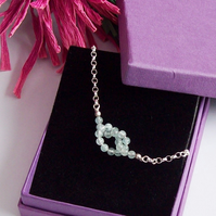 Aquamarine Knot Necklace Sterling Silver