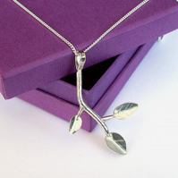 Silver Branch and Leaf Pendant version 2