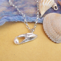 Silver Crab Claw With Pearl, Handmade Claw , Hallmarked