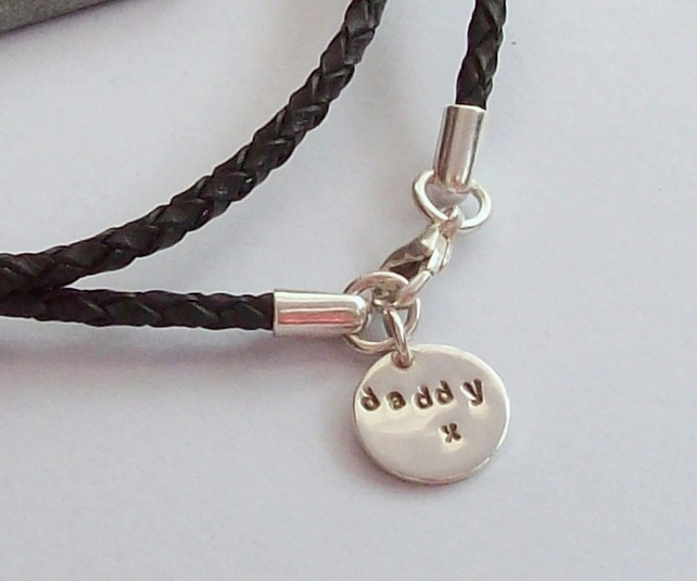 Leather Bracelet With Daddy Charm Sterling Silver