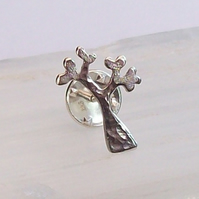 Silver Tree Brooch Tree Pin , Tree Lapel Pin , Tree Tie Pin