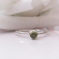 Peridot Stacking Ring Size P Sterling Silver