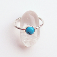 Turquoise Stacking Ring Size P Sterling Silver