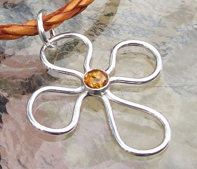 Silver Cross with Amber Necklace , Handmade , Hallmarked