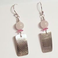Textured Curve Drop Earrings in Sterling Silver and Rose Quartz