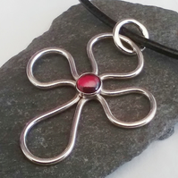 Handmade Silver Cross with Garnet Sterling Silver Hallmarked