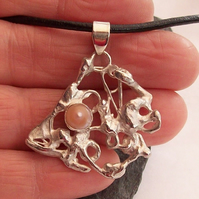 Silver Skeleton Angel Fish Pendant, Fused Sterling Silver with Blister Pearl