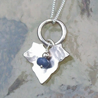 Blue Sapphire Charm Necklace with Ivy Leaf Handmade September Birthstone