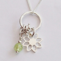 Silver Flower Charm Initial Necklace with Peridot August Birthstone