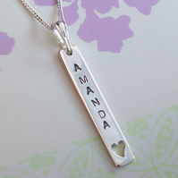 Name Necklace , Birthdate Necklace , Inspirational Text Necklace Sterling Silver