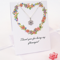 Personalised Flower Necklace for Bridesmaid or Flowergirl , sterling Silver