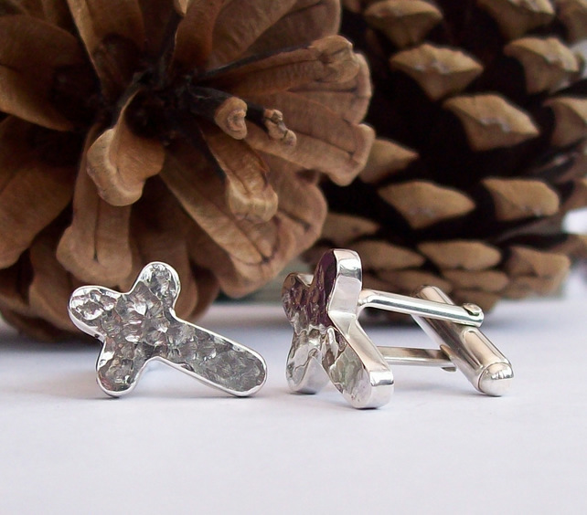Sterling Silver Hammered Cross Cufflinks with Rounded Edges, Handmade Cuff Links