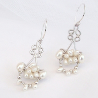 Elegant Pearl Earrings Cultured Freshwater Pearl and Sterling Silver