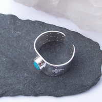 Turquoise Wide Ring Sterling Silver decorative Adjustable Boho Ring