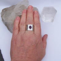 Amethyst wide Ring Sterling Silver Adjustable
