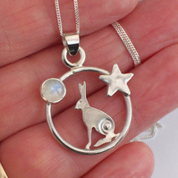 Hare Necklace , Midnight Hare with Rainbow Moonstone Sterling Silver 925
