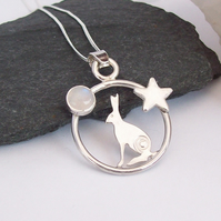 Silver Hare Necklace , Midnight Hare with Rainbow Moonstone