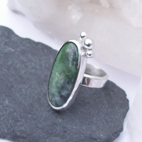 Green Ring Chrome Diopside Sterling Silver Size M Boho Ring