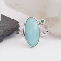 Emerald and Amazonite Boho Ring size O Sterling Silver 925 OOAK