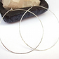 Maxi Hoop Earrings Sterling Silver , Round Hoop Earrings lightly Hammered