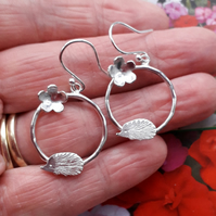 Silver Hedgehog Earrings with flower detail, circle earrings Sterling Silver 925