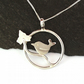 Sterling Silver Robin Pendant , Circle pendant with Bird and Ivy