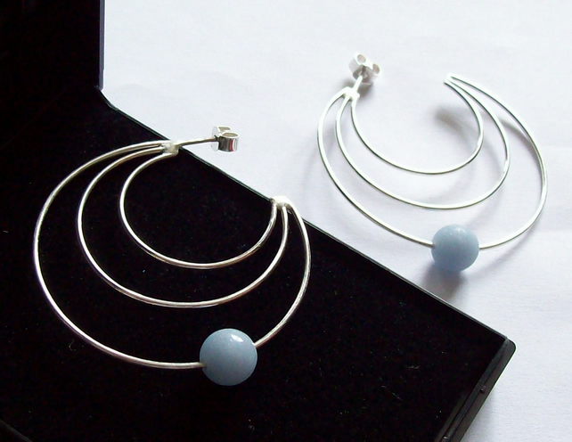 Triple Hoop Earrings with free floating blue Angelite gemstone bead Sterling Sil