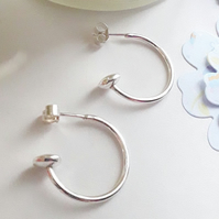 2 cm Sterling Silver hoop earrings with disc bead end, Solid Sterling Silver 925