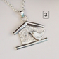 Decorative Birdhouse Necklace , Sterling Silver Robin Bird house Pendant