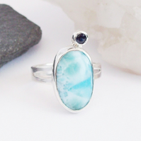 Blue Sapphire and Larimar Ring , Ring Size P , Ladies Ring , Boho Ring