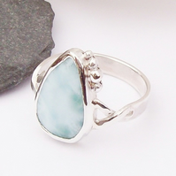 Silver Larimar Ring Size S , Solid Sterling Silver 925 ,  Hallmarked Ring