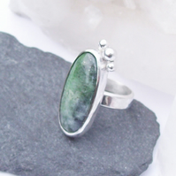 Green Ring Chrome Diopside Sterling Silver Size M Boho Ring , handmade Ring