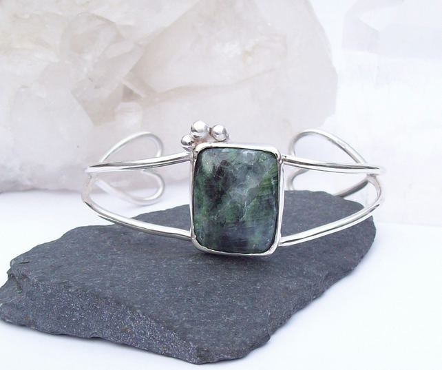 Chrome Diopside Bangle Cuff Solid Sterling Silver 925 Wide Bangle