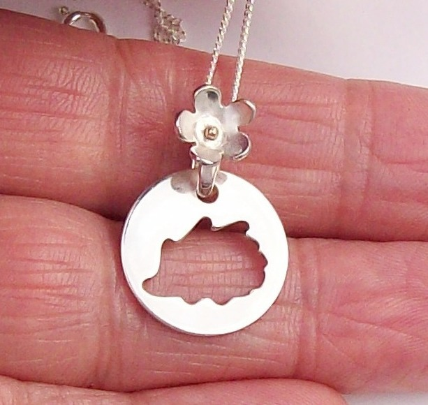 Sterling Silver Hedgehog Necklace with 9ct Gold Accent in the Flower
