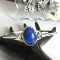 Lapis Lazuli Bangle Solid Sterling Silver 925 , Oval bangle