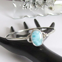 Larimar Bangle , Sterling Silver Bangle , Handmade Bangle ,  Hallmarked