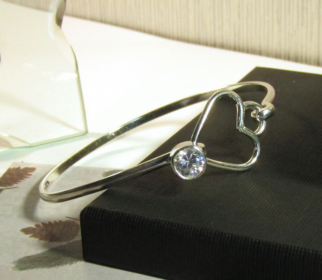 Sterling Silver Bangle Heart and Sparkle , Handmade Heart Bangle , Gift Boxed