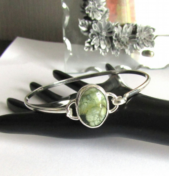 Sterling Silver Oval Bangle with Rhyolite Gemstone