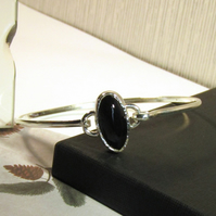Black Agate Bangle Sterling Silver hallmarked Gift for her Ladies Bangle