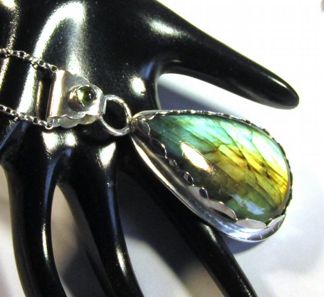 Large Labradorite Pendant with Peridot Sterling Silver , Handmade , Hallmarked