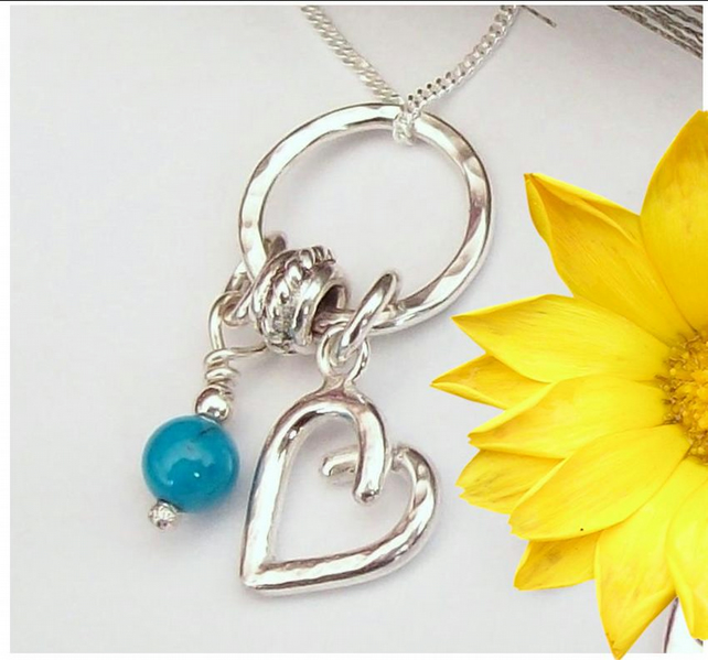 Turquoise Charm Necklace Sterling Silver December Birthday , Hallmarked