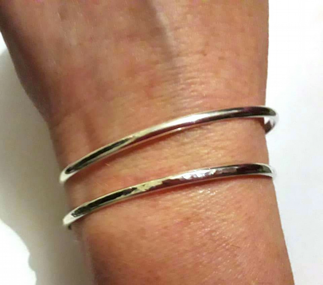 Sterling Silver Cuff Bangle, Hand Forged Adjustable Bangle , Hammered or Smooth