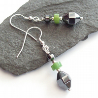 Chrysoprase Gemstone Earrings with Hematite Sterling Silver 925