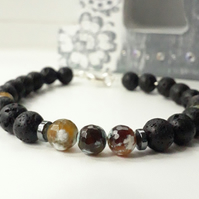 Black Lava with Fire Agate Gemstone Bracelet, Sterling Silver , 8 inch