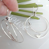 Silver Hoop Earrings with Bird and Star