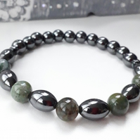 Hematite Stretch Gemstone Bracelet with mid green Indian Agate Unisex 7.5 inch